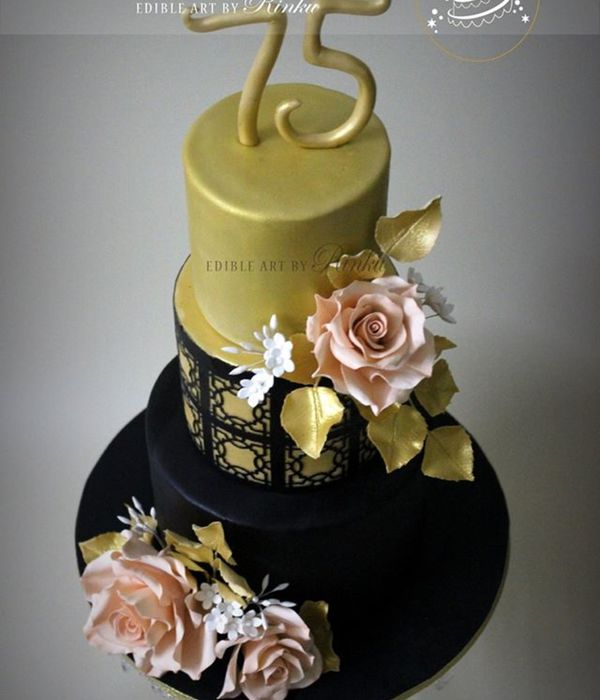 Black & Gold Birthday Cake