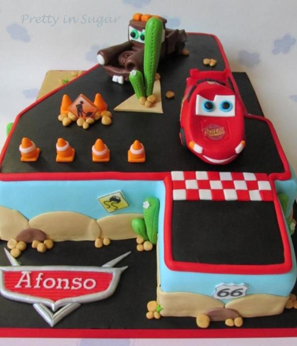 Disney Cars Number 4 Shaped Cake