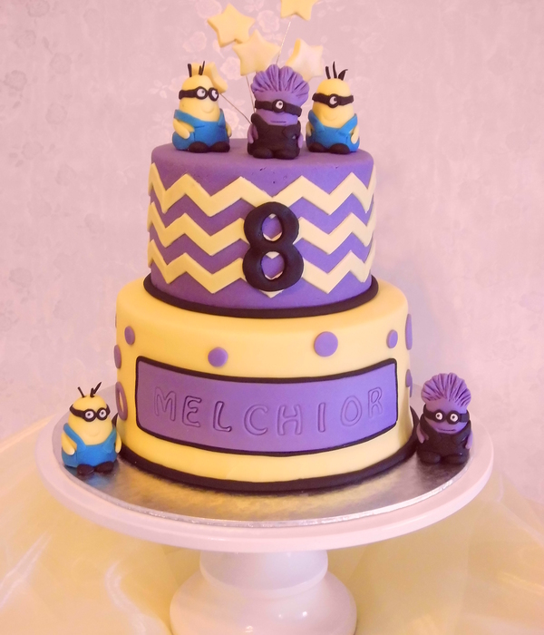 Yellow And Purple Minion Cake
