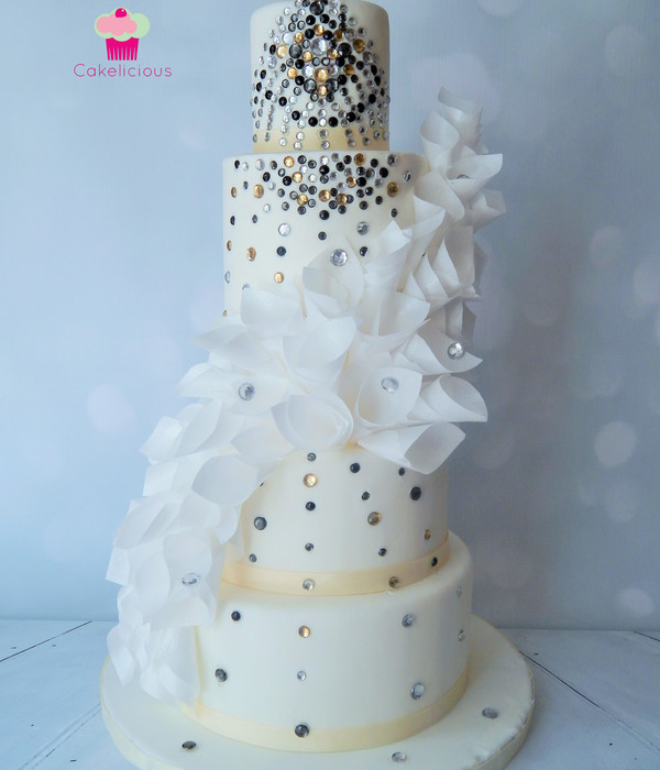 Art Deco Wedding Cake With Cascading Wafer Paper Ruffles