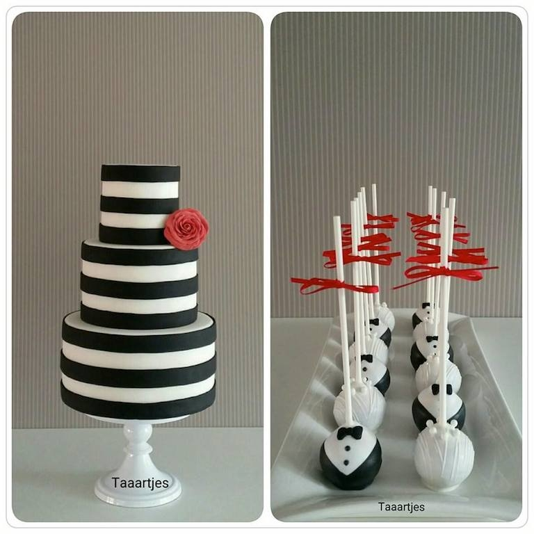 Black White Stripe Cake With Wedding Cakepops
