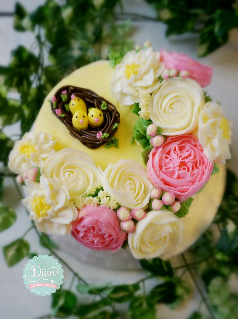 Chicks And Flower Buttercream Cake on Cake Central