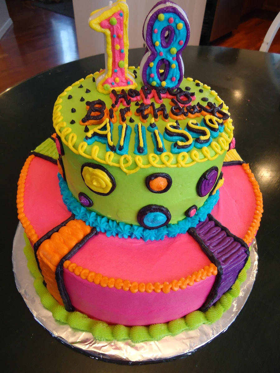 Neon Bright Birthday Cake Cakecentral Com