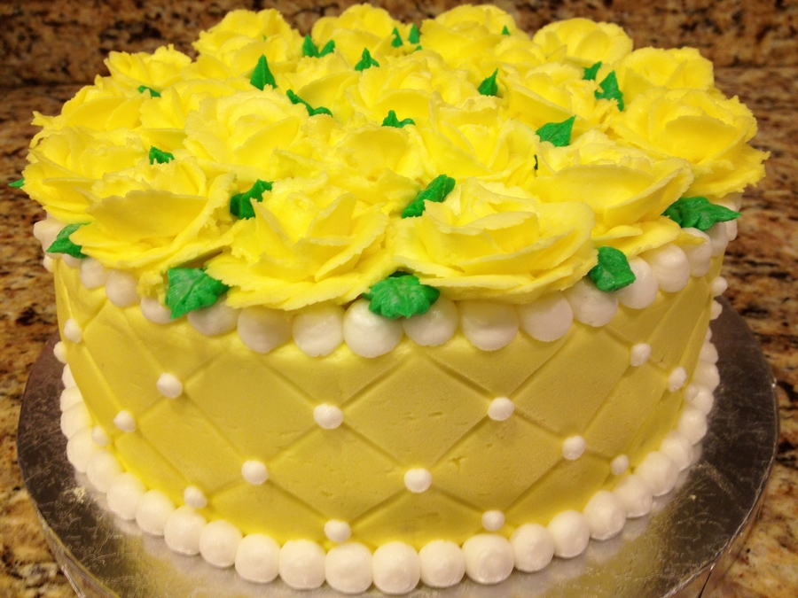 Yellow Roses Birthday Cake - CakeCentral.com