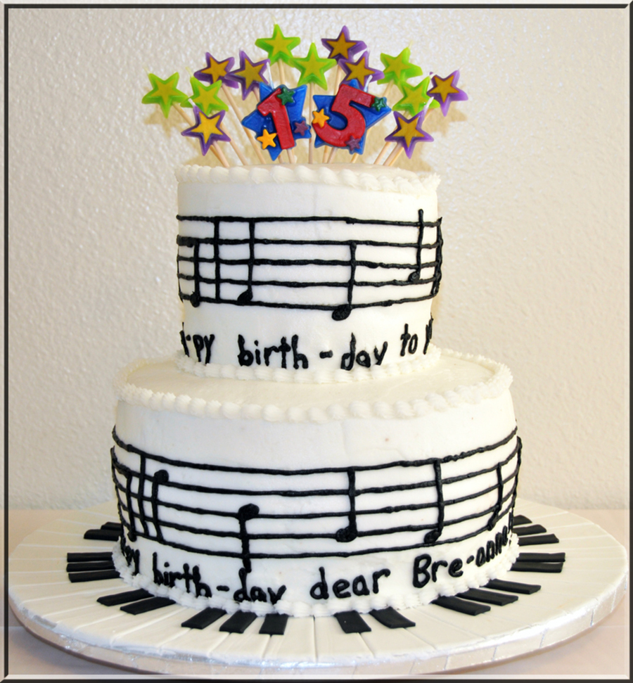 Happy Birthday Music Notes Cake - CakeCentral.com