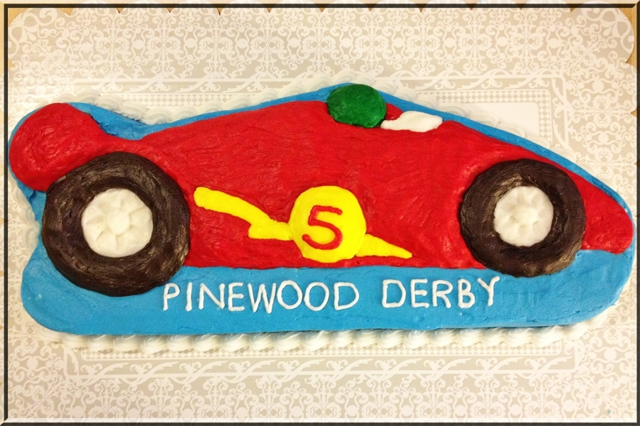 This Was The Sheet Type Cake Using A Character Pan That I Made To Go With Mini Car Cakes For Years Pinewood Derby