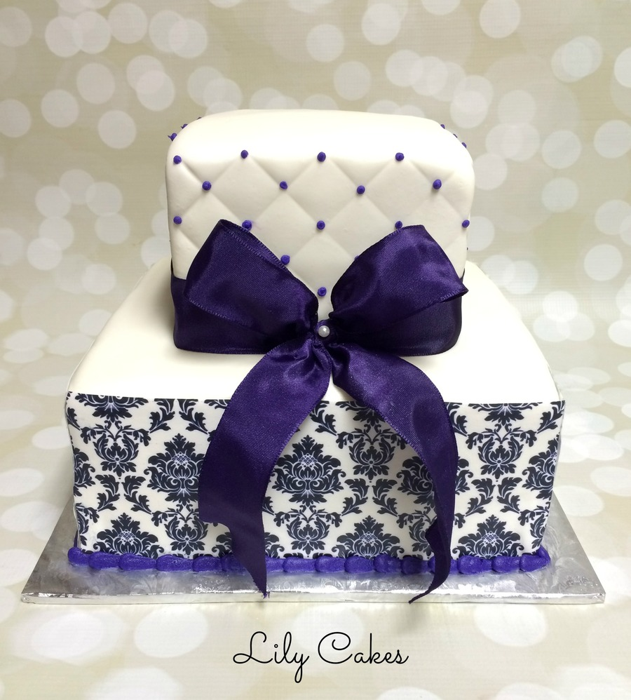 Square Wedding Cake With A Damask Edible Image Print on Cake Central