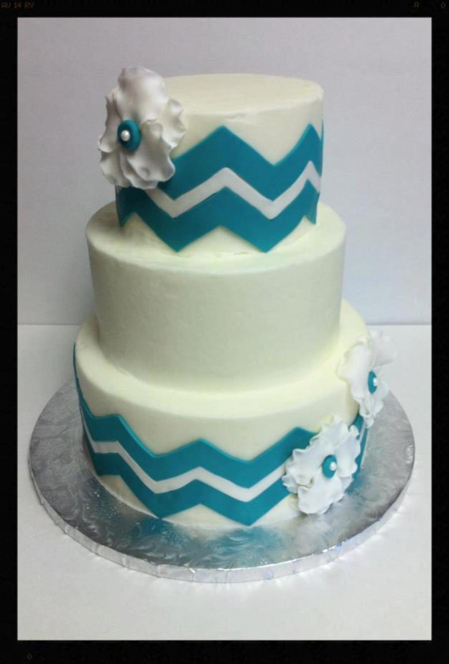 Buttercream Cake With Fondant Chevron Stripes And Fondant Fantasy Flowers on Cake Central