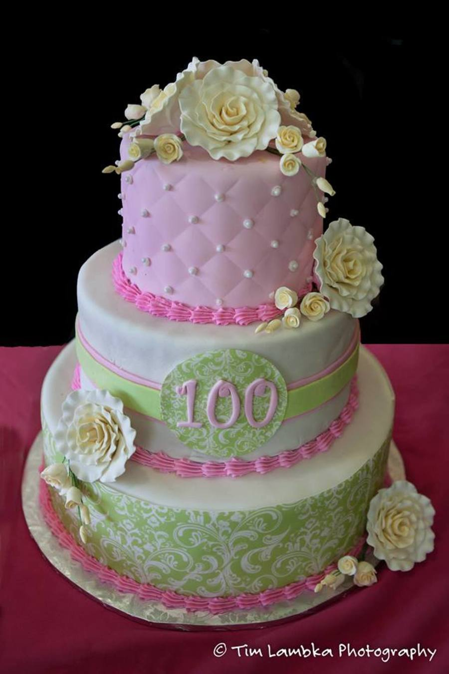 A 3 Tier Cake To Celebrate My Great Grandmothers 100Th Birthday 6912 Covered In Fondant Damask