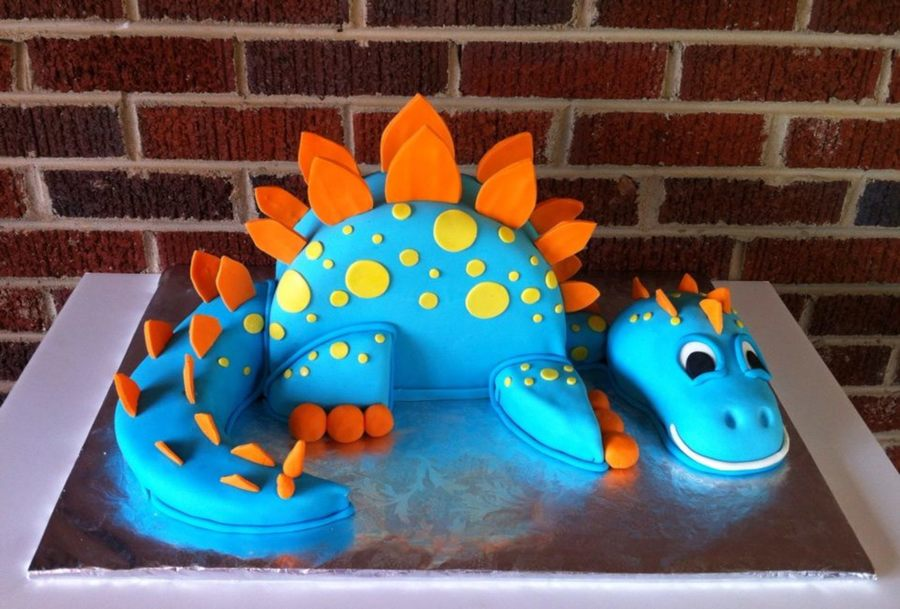 Big Blue Dinosaur Cake Rkt Head The Rest Is Cake Covered