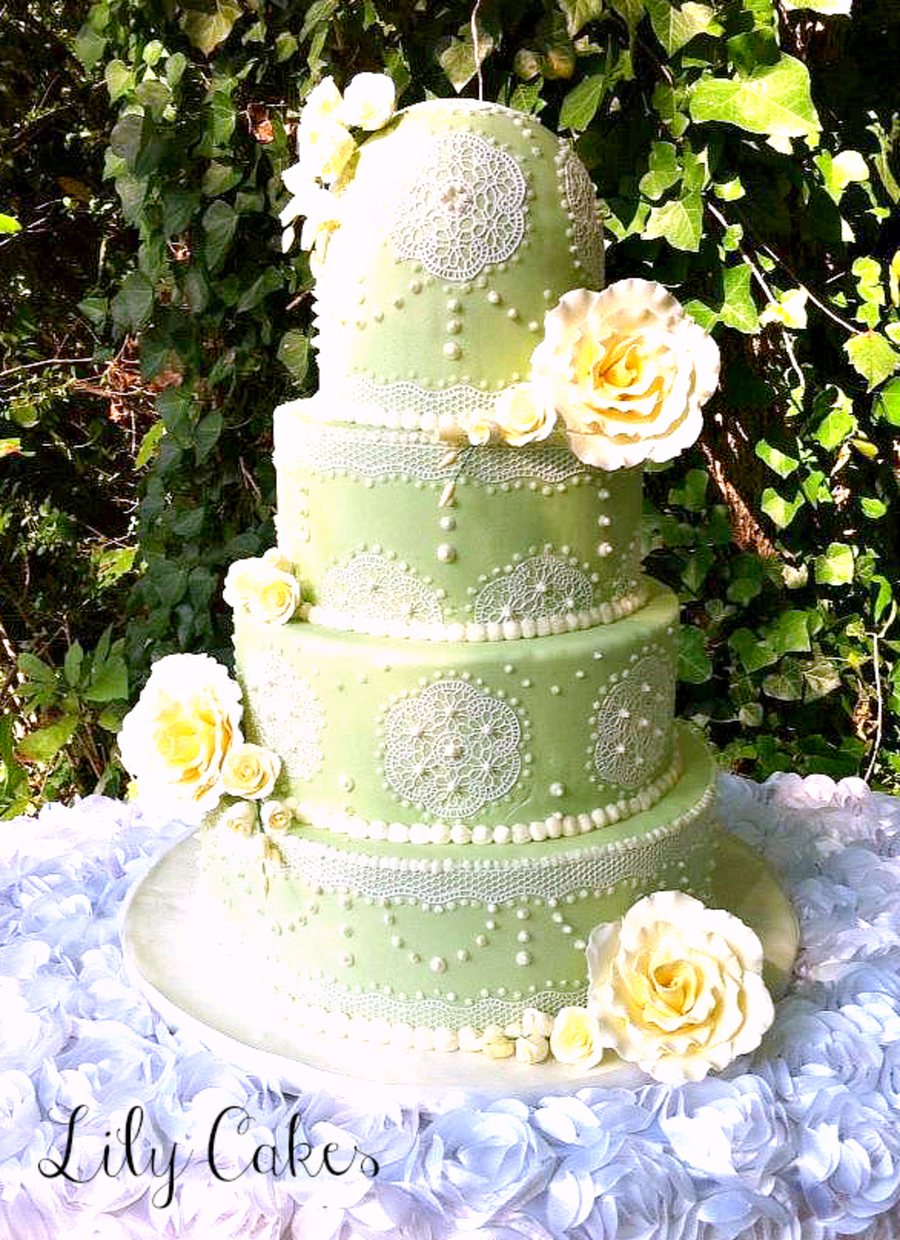 6810 And 12 With Half Round On Top Of 6 Covered In Light Green Fondant And Sugarveil on Cake Central