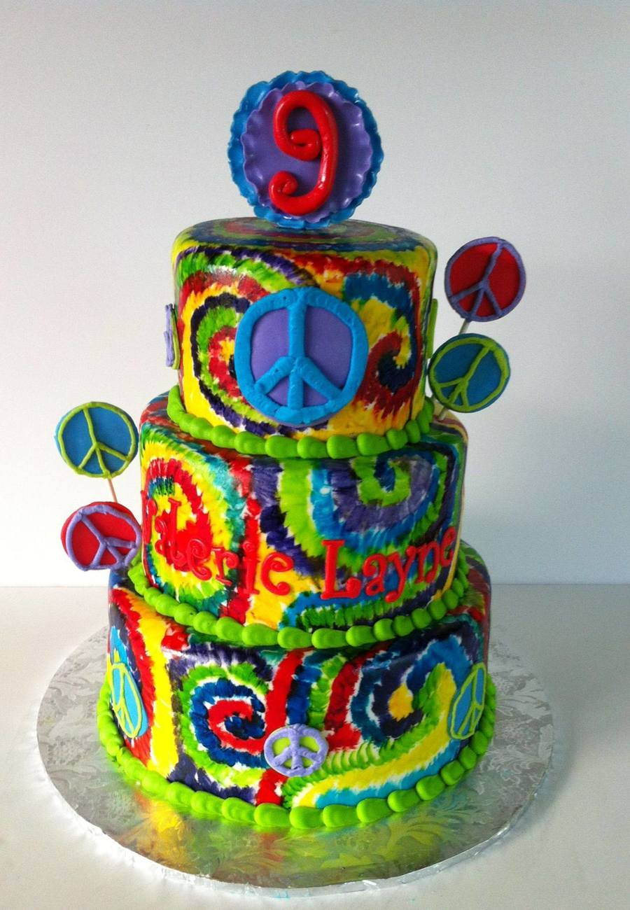 Tie Dye Birthday Cake With Peace Signs 68 And 10 The Tie Dye Is Hand Painted on Cake Central
