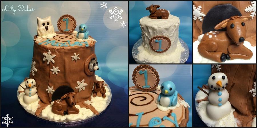 Winter Tree Stump Themed Birthday Cake For A 1st Birthday