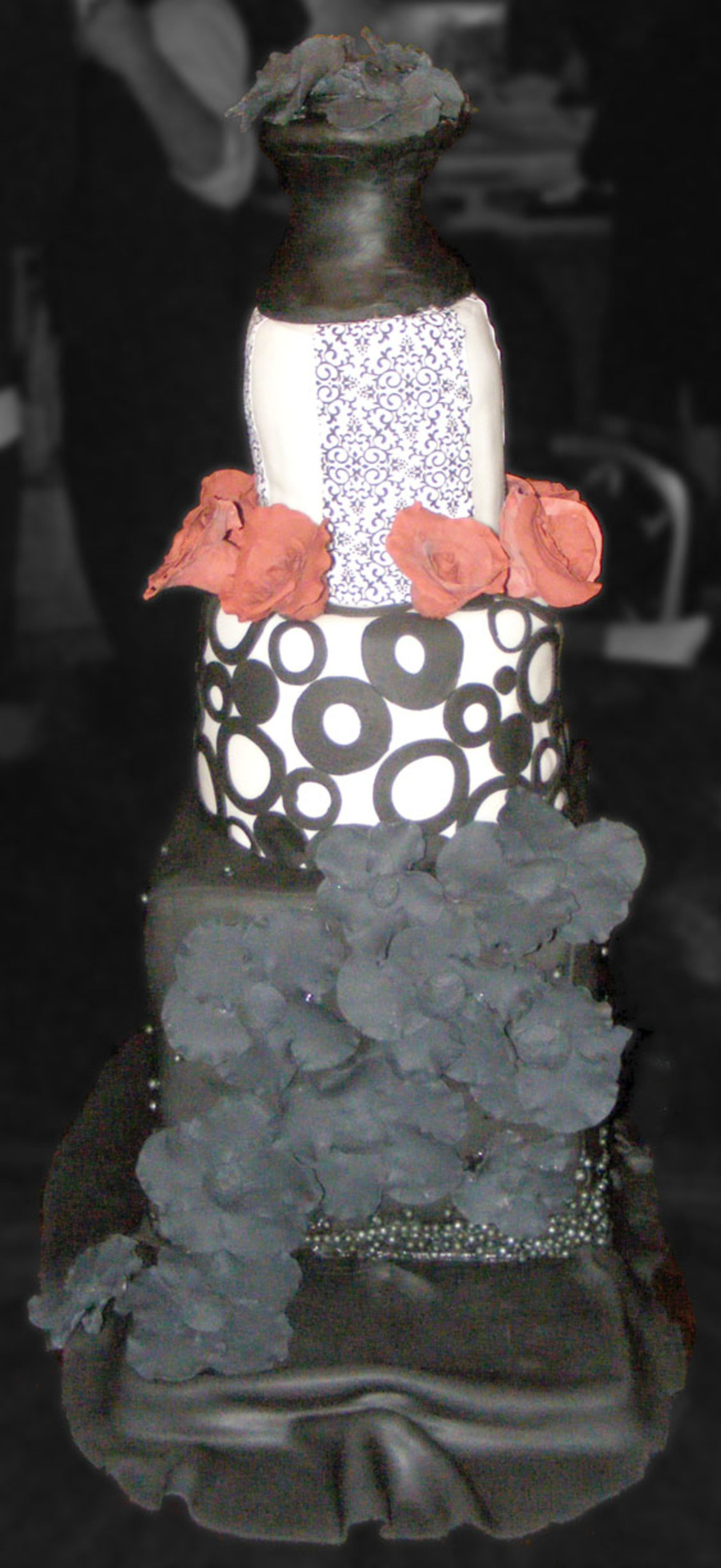 Elegant Black And White Wedding Cake on Cake Central