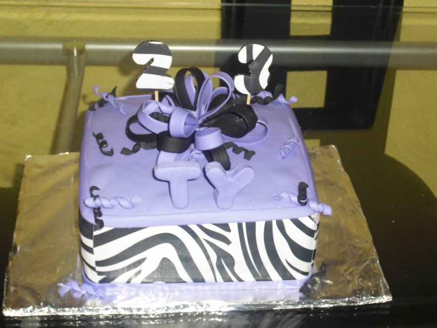 Purple And Zebra Print on Cake Central
