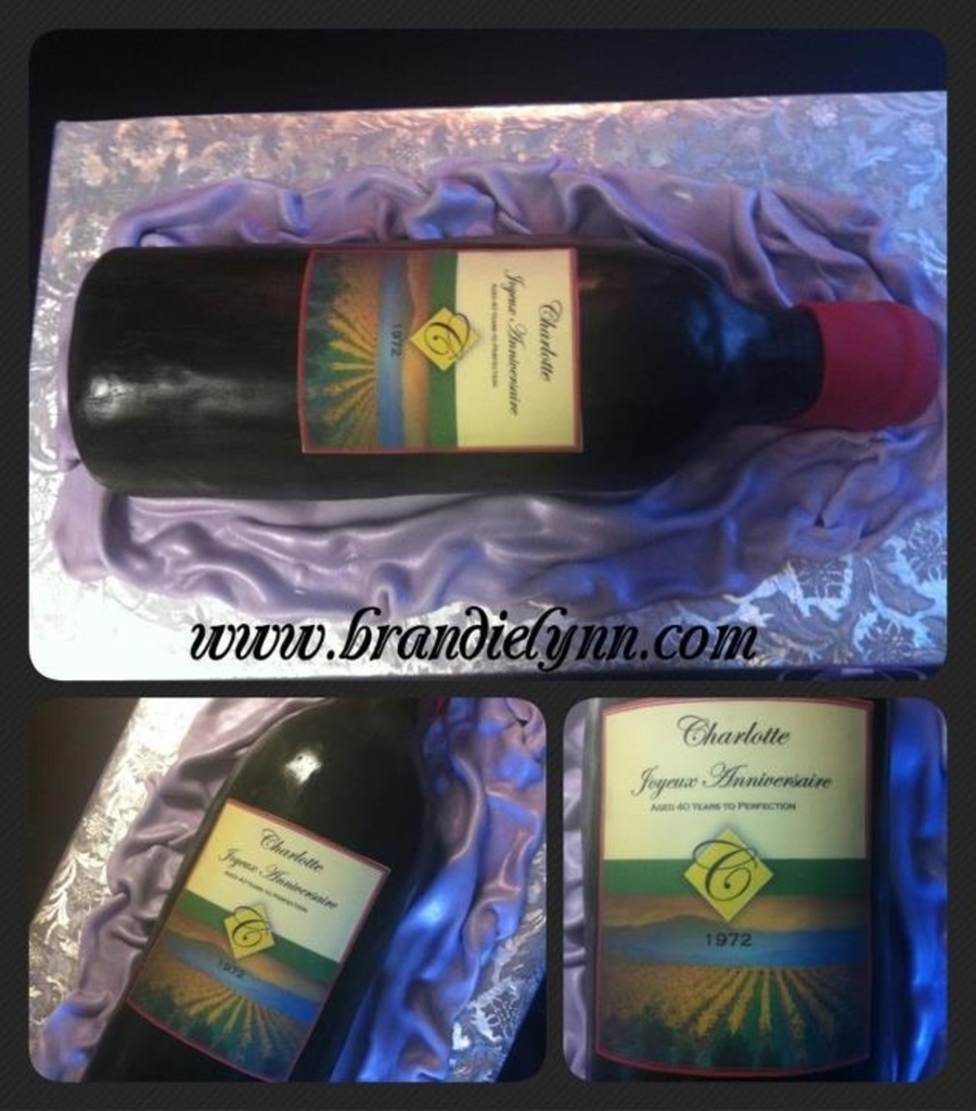 Wine Bottle W/ Custom Label on Cake Central