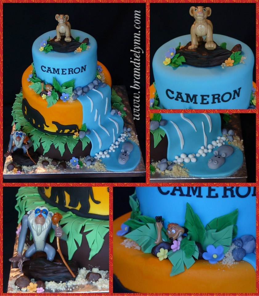 Lion King Baby Shower   Fondant Covered Cake W/ Fondant Accents