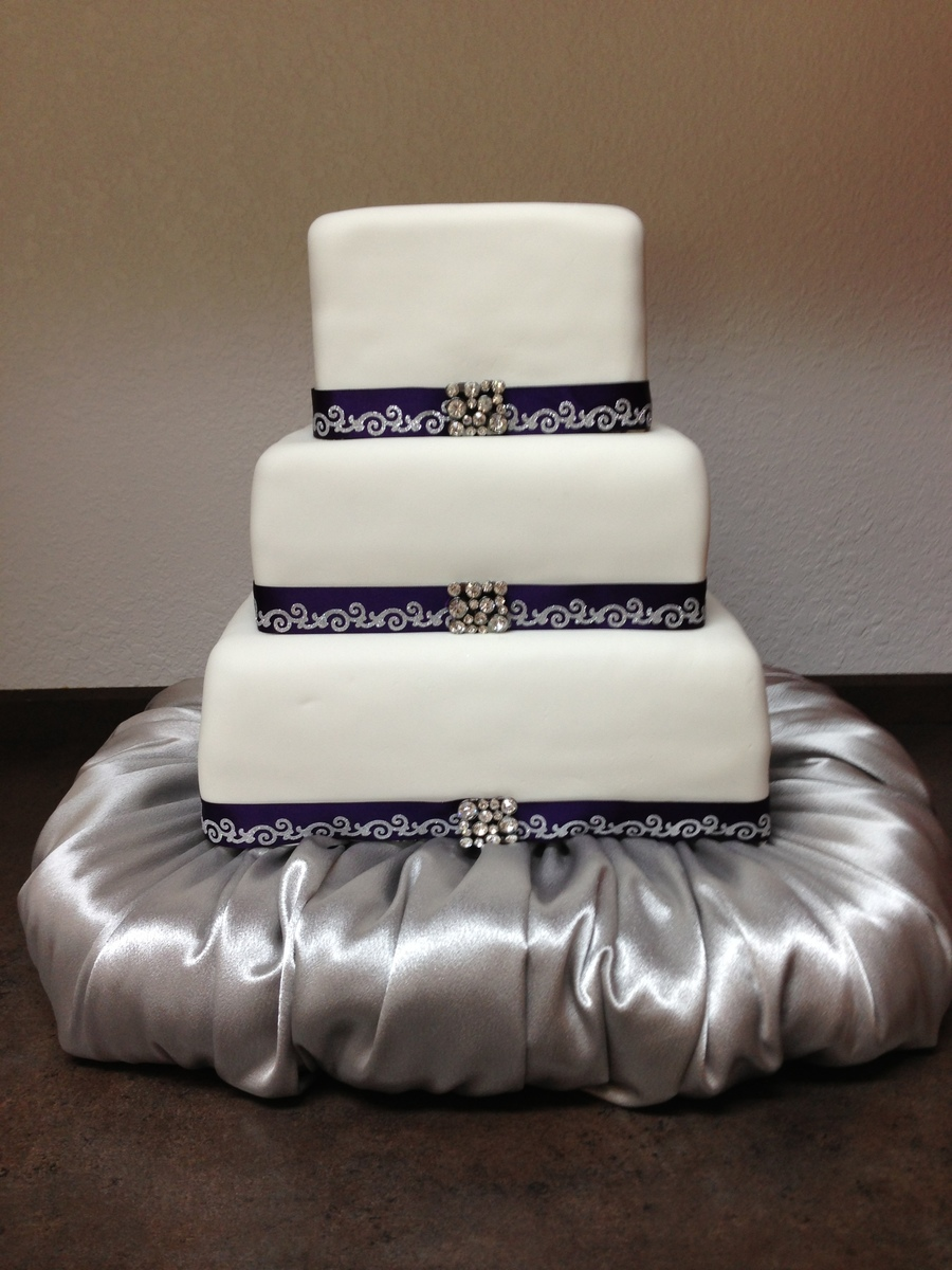 Square White And Purple With Puff Base on Cake Central