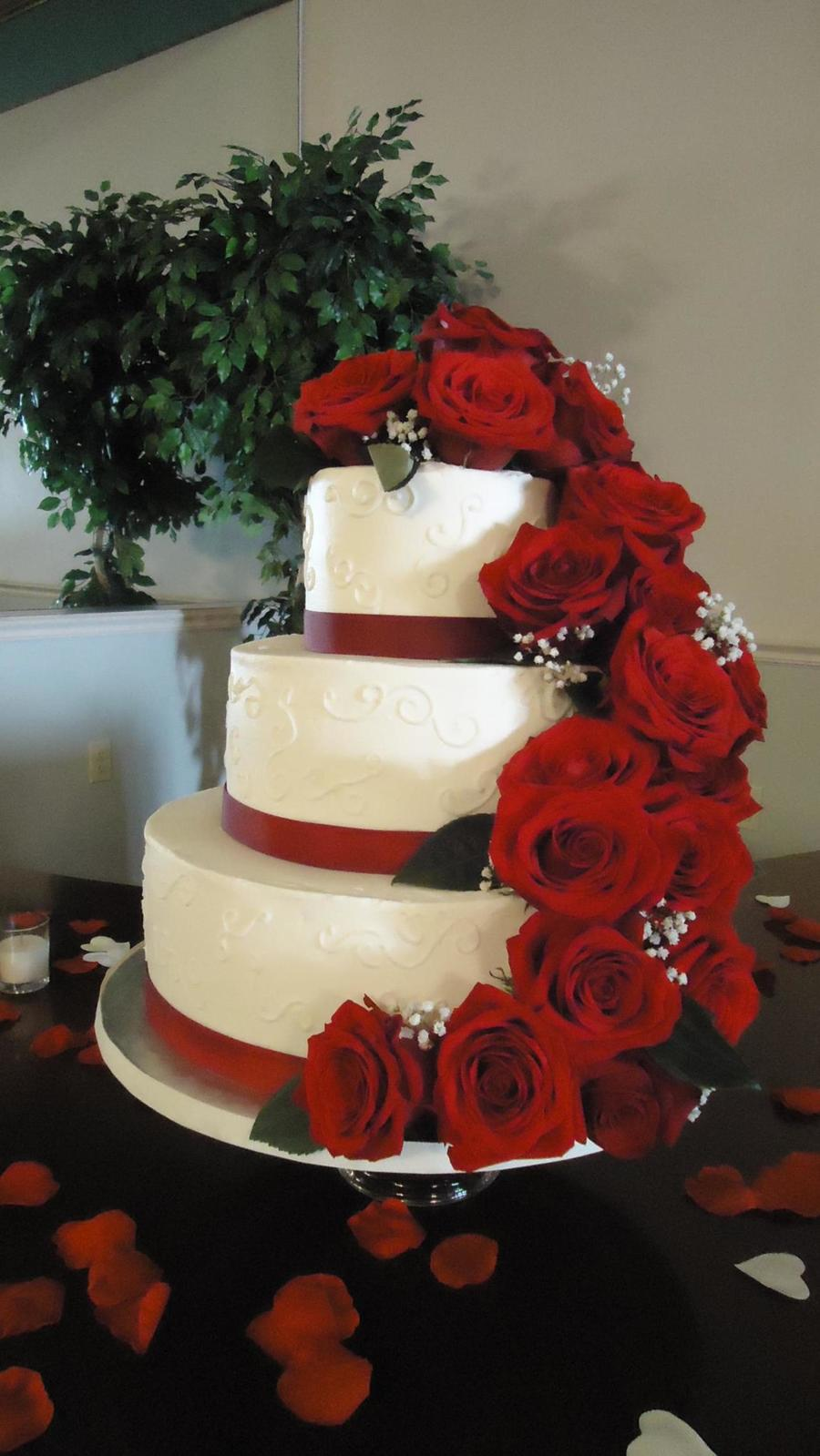 Fresh Red Rose Cascade on Cake Central