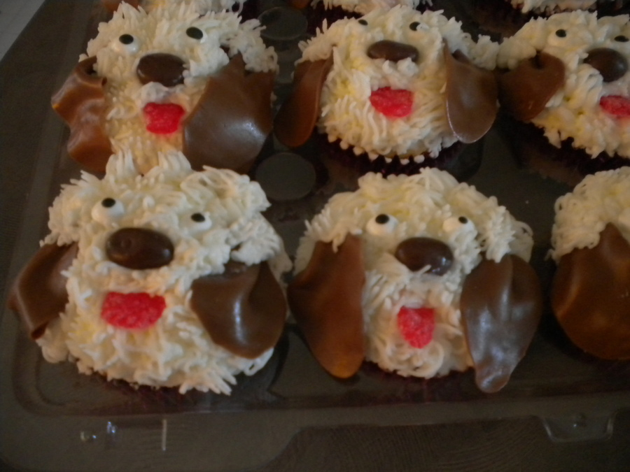 Puppy Cupcakes White Cake With Chocolate Gansche Fillling Chocolate Covered Raisin For Nose Tootsie Roll Ears Candy Eyes Red Spice on Cake Central