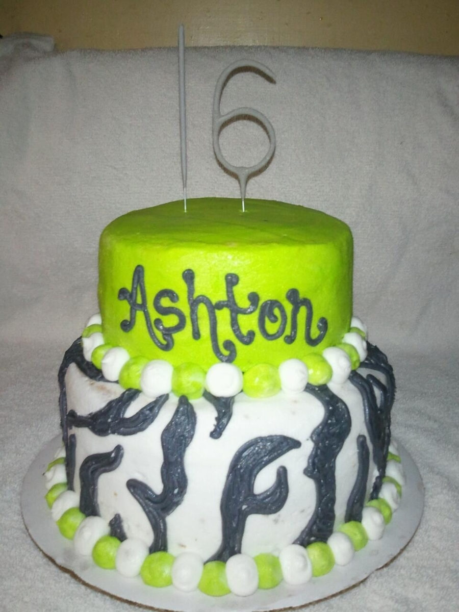 Neon Green And Zebra on Cake Central