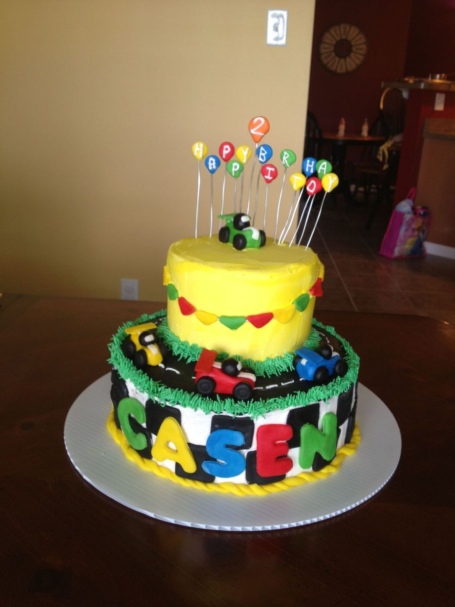 Amazing Race Car Birthday Cake For A 2 Year Old Little Boy Buttercream Funny Birthday Cards Online Elaedamsfinfo