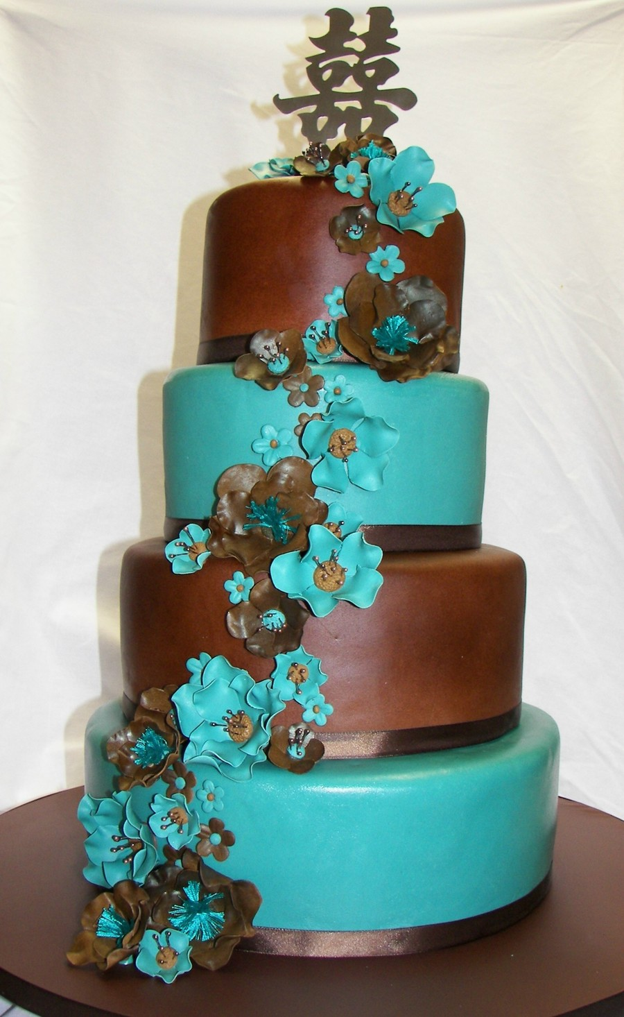 teal blue and brown wedding cakes jade and brown wedding cake cakecentral 20775