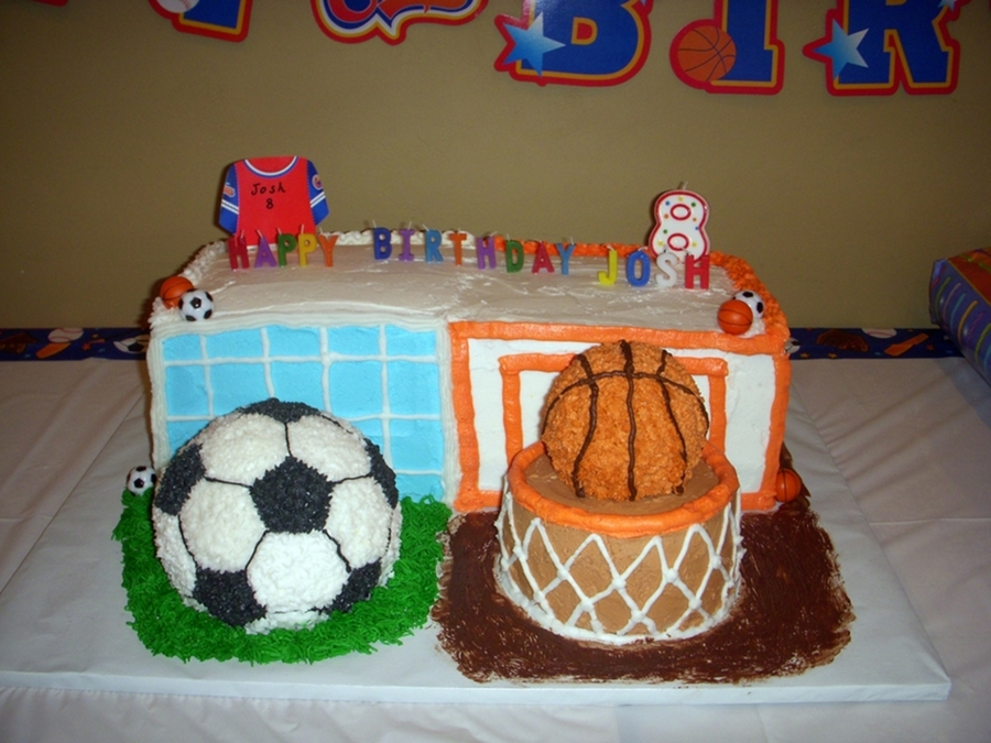Soccer & Basketball Cake on Cake Central