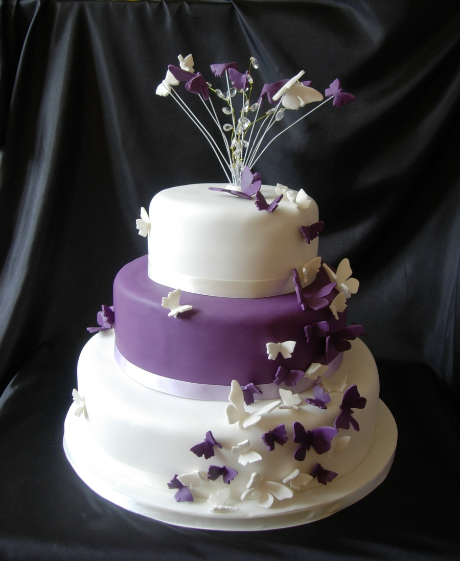 Purple Butterflies on Cake Central