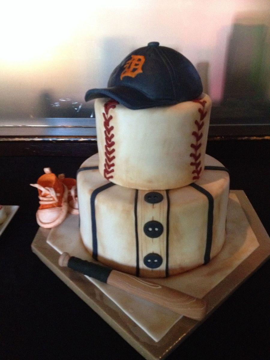 Baseball Themed Shower Cake CakeCentralcom