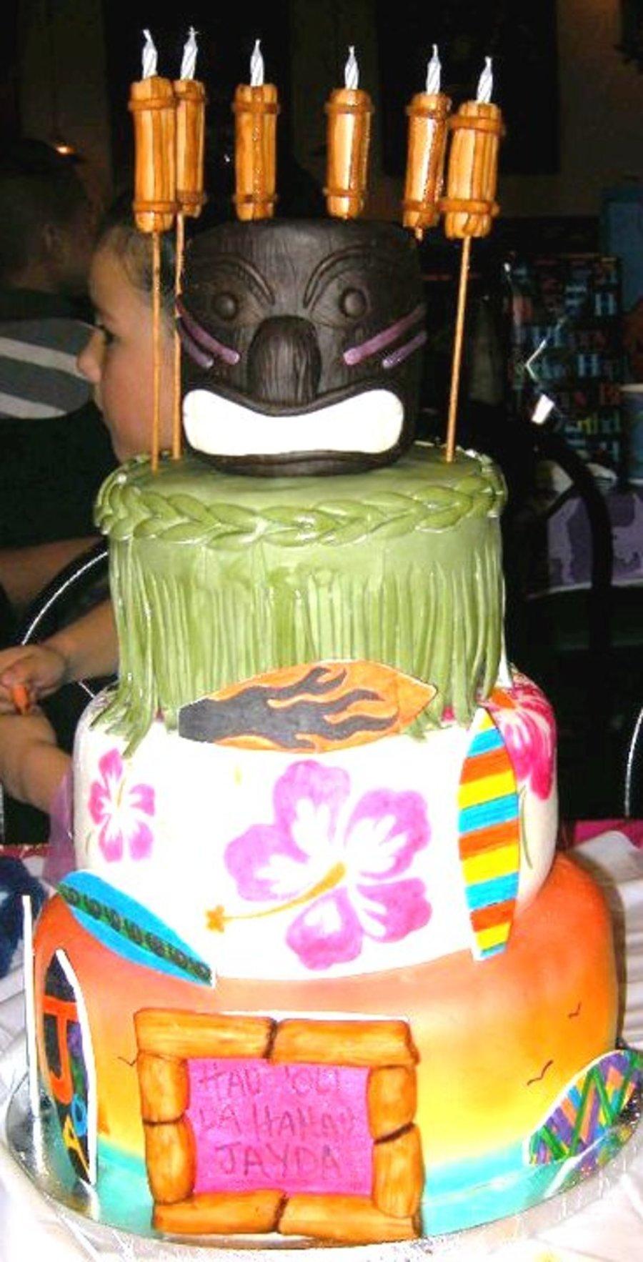 Tiki Torch Candles Cake