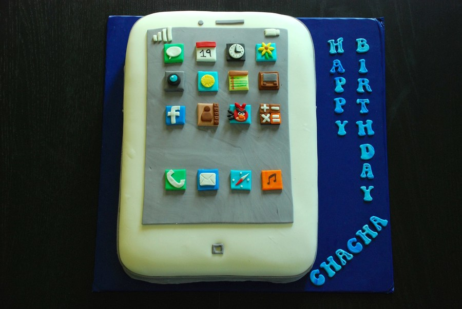 White Iphone Cake Chocolate Cake With Buttercream Filling And Fondant Icons on Cake Central