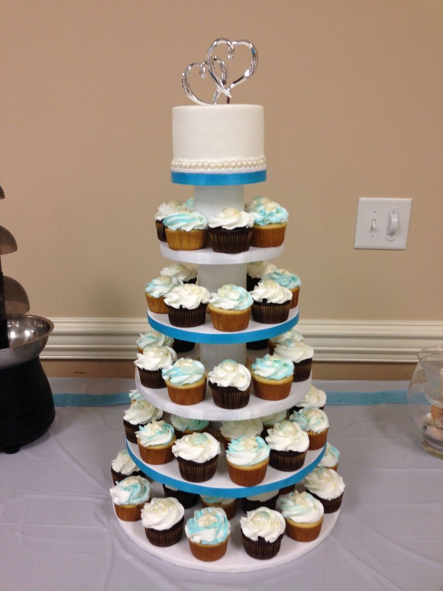 Beach Themed Wedding Cupcake Tower