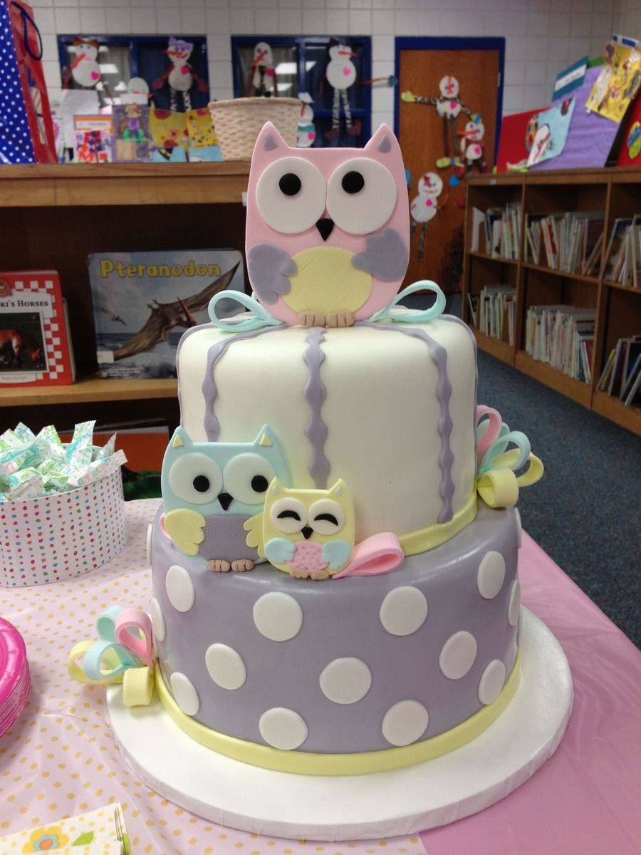 Owl baby shower cake for Baby cake decoration