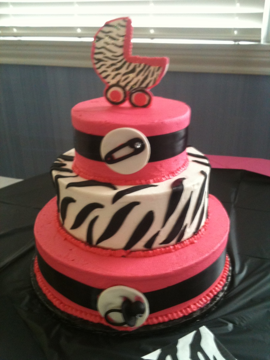 Hot Pink Black And Zebra Stripes Baby Shower Cake Cakecentral
