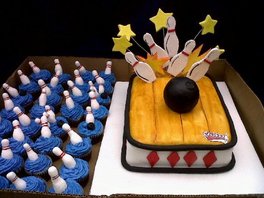 Bowling Cake And Cupcakes on Cake Central