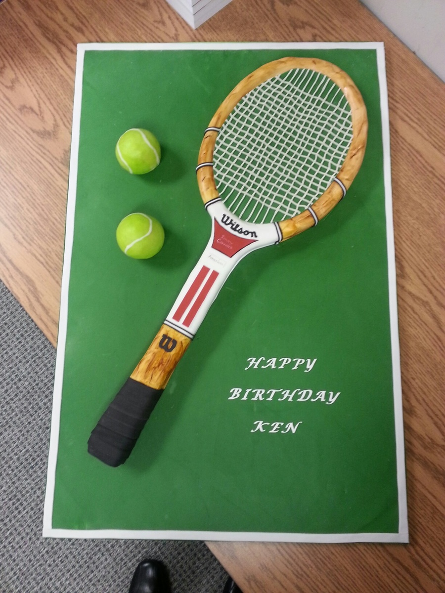 The Racket Is All Cake That Was Covered In Buttercream And Then Fondant The Strings Were Woven With Fondant The Tennis Balls Are Rc Cove on Cake Central