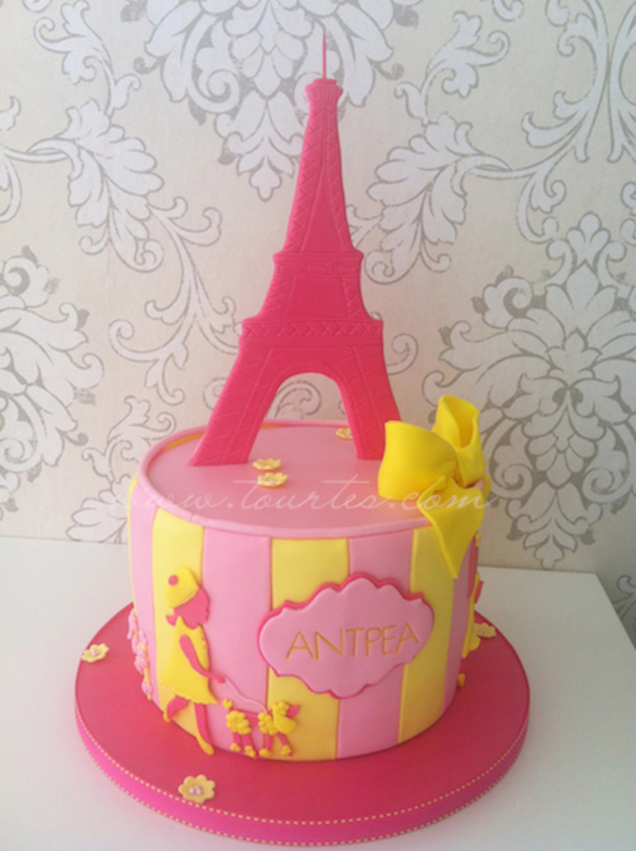 Pink And Yellow Paris And Poodles Cake on Cake Central