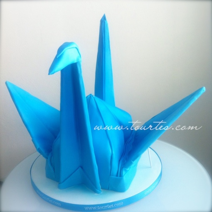 Blue Origami Bird Cake on Cake Central