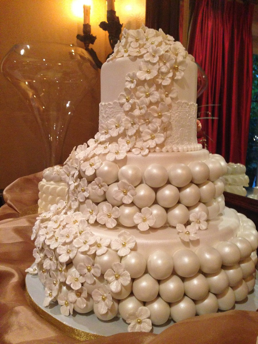 Cake With Ball Design : Cake Ball Wedding Cake With Satellite Cakes - CakeCentral.com