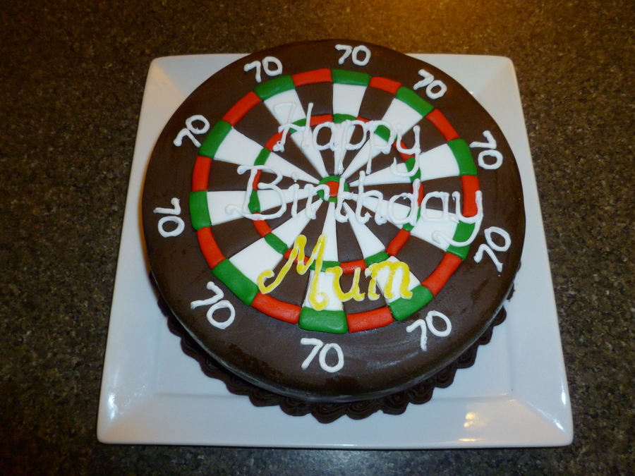 Dart Board 70Th Birthday Cake  on Cake Central