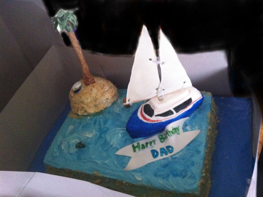 Sailboat, Desert Island on Cake Central