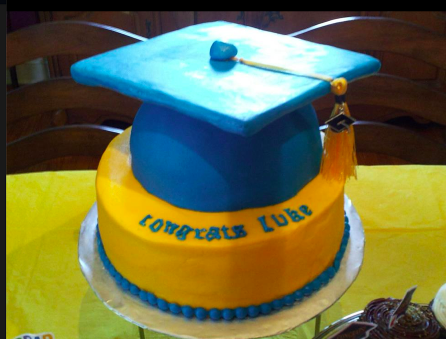 This Was For My Youngest Grandsons High School Graduation An 8 Inch Yellow Cake Covered In Buttercream With A Half Ball Pan Cake For Cap on Cake Central