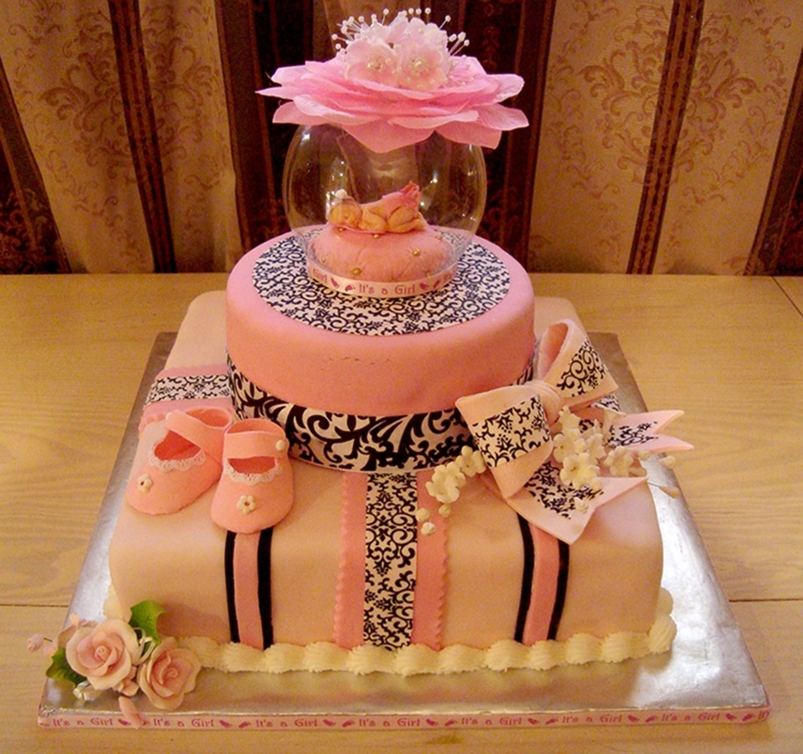 Pink And Damask Baby Shower Cake