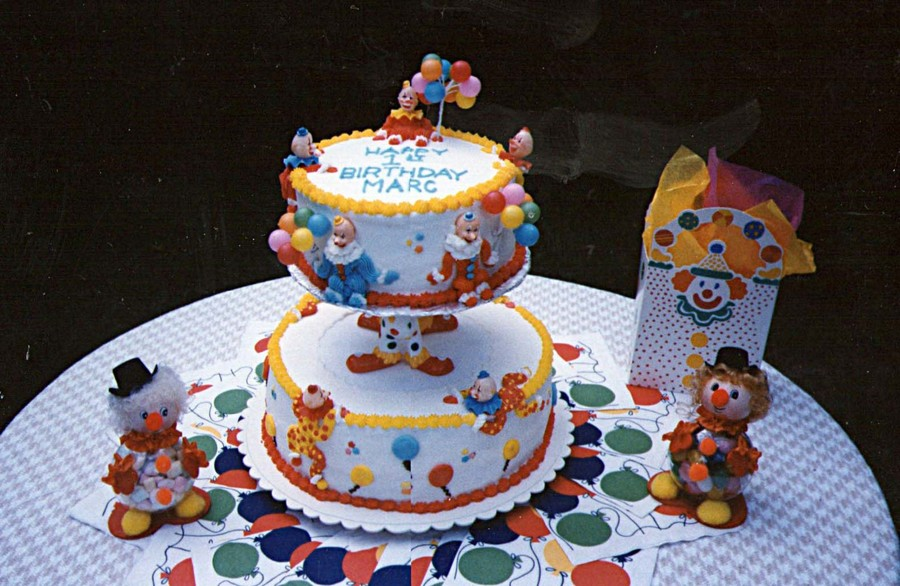 Playful Clowns Made This Cake For A Little Boys First Birthday