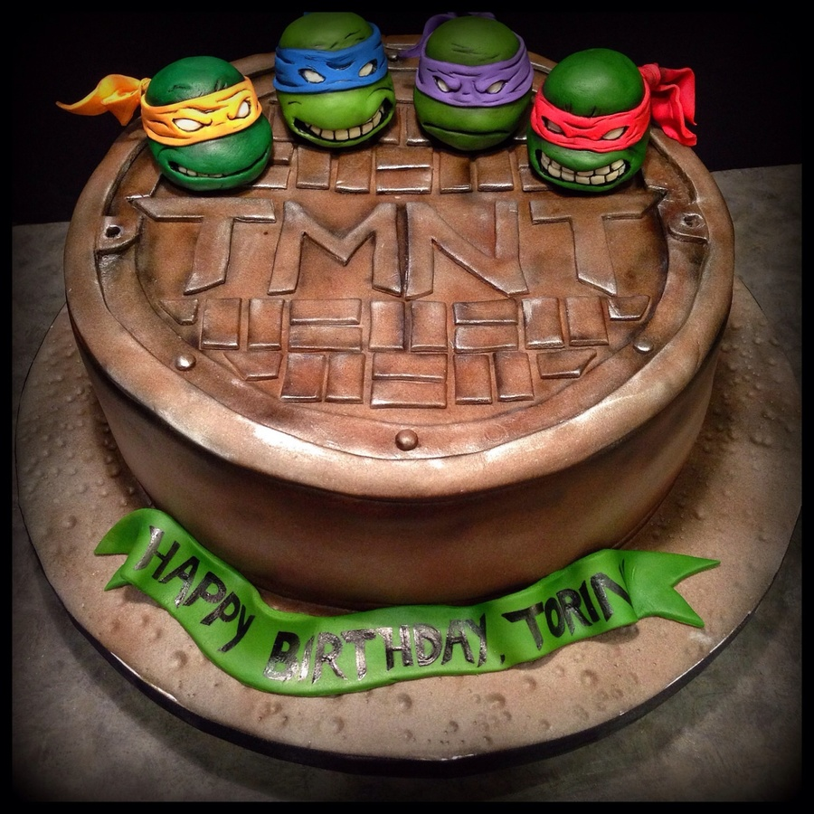 This Tmnt Cake Was Made For A Very Excited 6 Year Old Figures Are