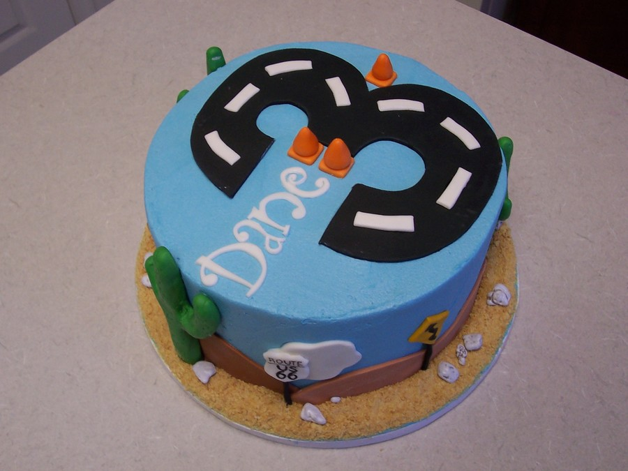Cars-Themed Birthday Cake on Cake Central