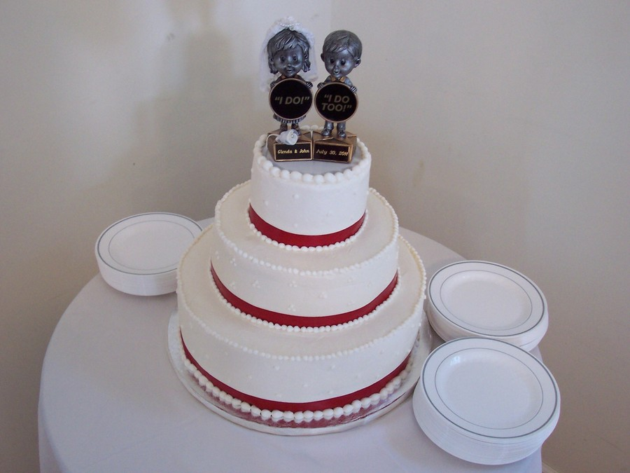 Red And White Wedding Cake on Cake Central