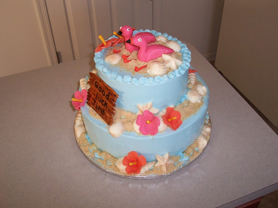 Bon Voyage Flamingos on Cake Central