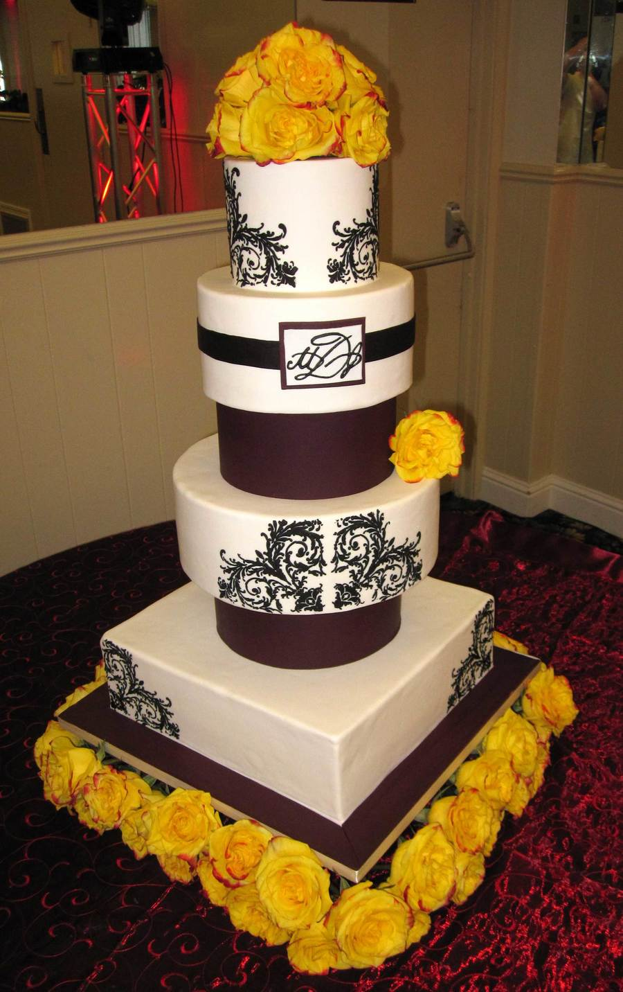 Burgundy, White And Black on Cake Central